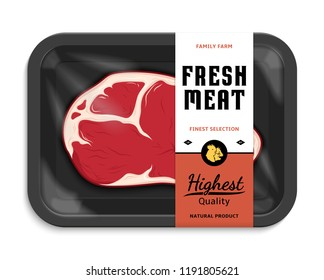 Vector meat packaging illustration. Black foam meat tray with plastic film mockup. Modern style butchery label.   Farm animals icons.