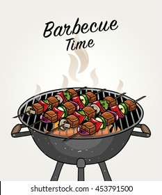 Vector Meat Skewers with Vegetable on Grill