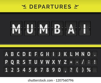 Vector mechanical airport flip board font with flight info of departure destination in India: Mumbai with airline icon.