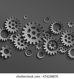 Vector mechanical black gears and cogs background