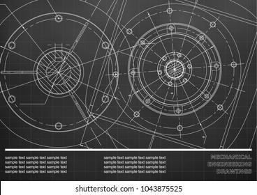Vector Mechanical engineering drawings on a Black background. Grid. Background for inscription