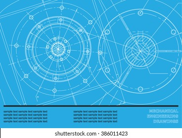 Vector Mechanical engineering drawings on a blue background. Cover, Background for inscription labels