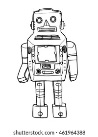 vector Mechanical Robot vintageToy hand drawn cute line art illustration
