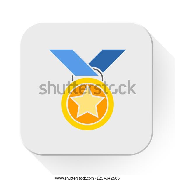 vector medal. Flat illustration of award medal isolated on white background. prize sign symbol. emblem icon