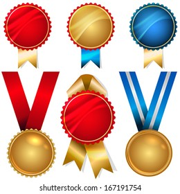 Vector medals and badges set - metallic with ribbons