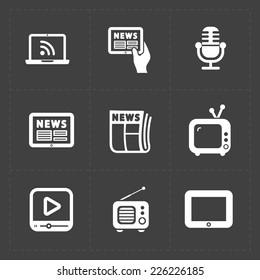 Vector Media Icons set on dark background