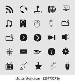 vector media and multimedia icons set