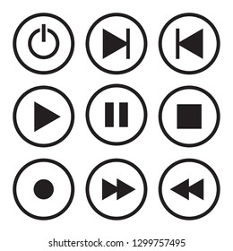 Vector media player control button. Web icons on white background.