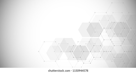 Vector medical background from hexagons. Geometric elements of design for modern communications, medicine, science and digital technology. Hexagon pattern background