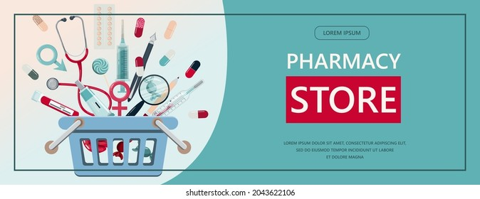 Vector medical banner. Pharmacy template for hospitals, advertising, pharmacies training. International health protection, insurance.Medicine and surgery.Vaccination, online health check up, medical