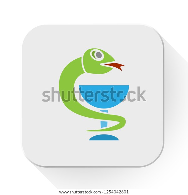vector medical care. Flat illustration of pharmacy snake isolated on white background. healthcare sign symbol. medical caduceus icon