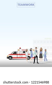 vector medical doctor and nurse standing on hospital and emergency car background