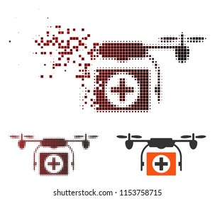 Vector medical drone icon in fractured, pixelated halftone and undamaged solid versions. Disappearing effect involves square dots and horizontal gradient from red to black.
