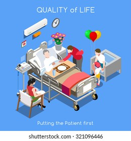 Vector Medical Hospital Bed Patient Room Isometric Infographic. Health Family Life Care Patient Disease Hospital. Clinic Patient Bed Health care Quality visit Home Isometric People Vector Illustration