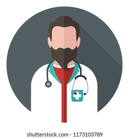 Vector medical icon doctor. The doctor is a bearded man with a stethoscope. Medic Illustration in a flat style.