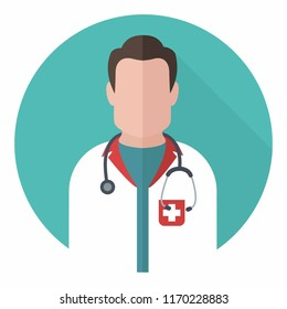 Vector medical icon doctor. Image Doctor with stethoscope. Illustration Medic doctor avatar in a flat style.