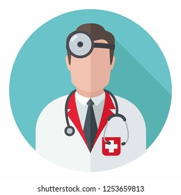 Vector medical icon doctor lor. Doctor with stethoscope and in uniform. Illustration of a medic in flat style.