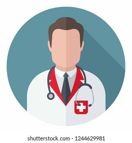 Vector medical icon doctor therapist. The doctor is a man in uniform and with a stethoscope. Illustration of a doctor in flat style.