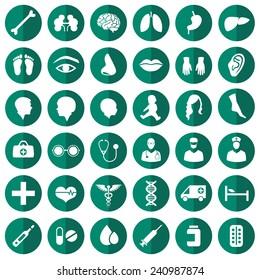 vector medical icon illustration, medicine set, hospital care symbol