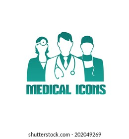 Vector medical icon or logo with 3 different doctors as therapist, surgeon and otolaryngologist, monochrome