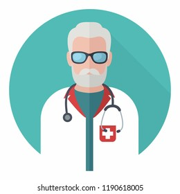 Vector medical icon man doctor. Doctor in uniform and with a stethoscope. Illustration of a medic in a flat style.