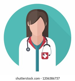 Vector medical icon woman doctor. Woman doctor in lab coat and with stethoscope. Illustration in flat style.