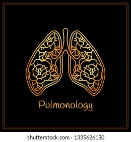 Vector medical illustration. Beautiful healthy lungs with flowers and leaves. Perfect symbol for pulmonology. Art or tattoo design for medical student, doctor medicine. Golden color