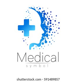 Vector medical Logo  sign with cross inside, human profile. Symbol for doctors, website, visit card, icon, logotype. Blue color. Medicine modern concept design. Health and care.