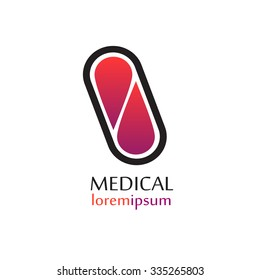 Vector medical logo template pill. Pharmacy capsule icon.
