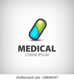 vector medical pill icon, logo isolated