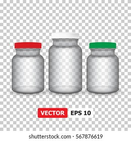 Vector medical set jars with a lid on a transparent background, vitamins, tablets or capsules. 3d