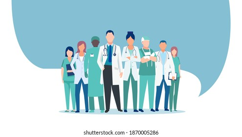 Vector of a medical staff, group of confident doctors and nurses