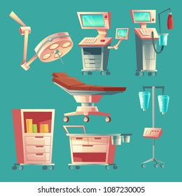 Vector medical surgery set, cartoon hospital equipment. Medicine life support system with lamp for emergency. Clinic stuff, surgical operating elements.