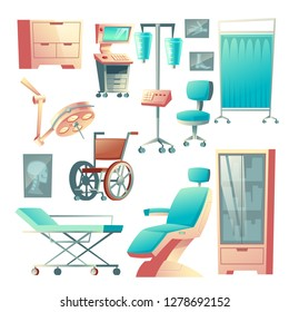 Vector medical surgery, traumatology set, cartoon hospital equipment. X-ray examination, wheelchair for patient and lamp for emergency. Clinic stuff, surgical elements for interior of infirmary.