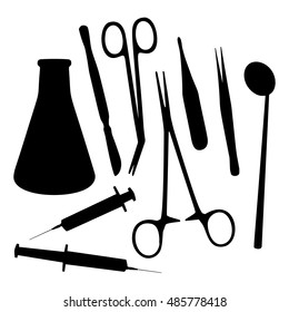 Vector medical tools set black silhouette