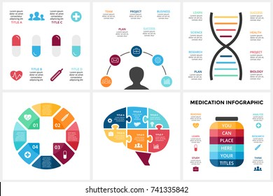 Vector medicine infographic. Template for human brain diagram healthcare graph, medicine doctor presentation, science chart. Hospital infographics 3 4 5 6  option, part, step. Puzzle jigsaw, plus sign