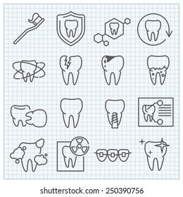 Vector medicine stomatology thin line icons set