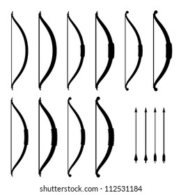 vector medieval bow weapon black symbols