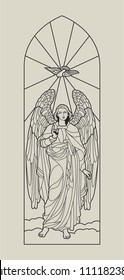 Vector Medieval Cathedral Window Stained Glass. Angel with Pigeon