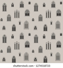 Vector Medieval Gothic Windows Seamless Pattern