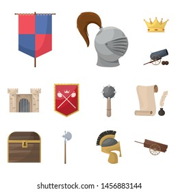Vector of medieval and history design logos. Set of medieval and tournament vector icon for stock.