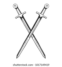 Vector medieval knight crossed swords icon. Middle age hand drawn illustration emblem in vintage style.