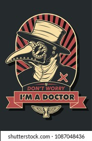 Vector Medieval Plague Doctor T Shirt Design