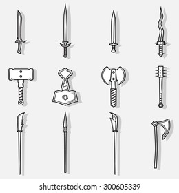 Vector medieval weapon logo, label and emblem