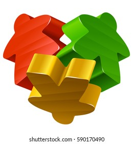 Vector meeples in the shape of heart. Board games pieces isolated on white background. Concept of love by boardgames for community icon or geek t-shirt print