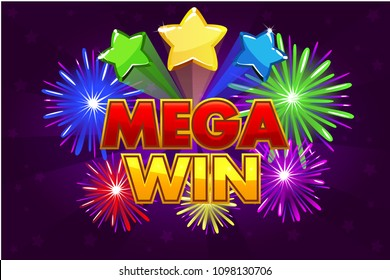 Vector Mega big win banner for lottery or casino games. Shooting colored stars and firework