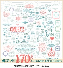 Vector mega set of 170 calligraphic vintage design elements.