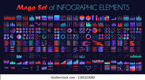 Vector mega set of infographic elements including pie charts, column chart, bar charts, timeline, world maps, line chart, area chart templates for data visualization design.