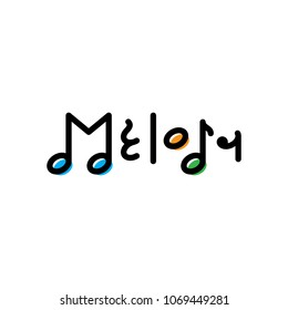 Vector Melody logo design template. Graphic music notes logotype, sign and symbol. Modern audio illustration isolated on background. Colorful sound label for musical shop, studio, company