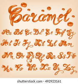 Vector melted caramel, candies,square,toffee, sauce alphabet. Shiny, glazed letters, liquid. Font style. Glossy typescript design.